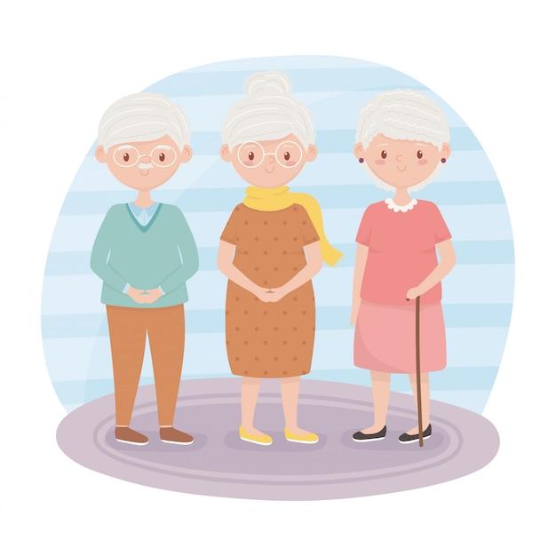 Personnes âgées, grands-mères et grand-père ensemble des personnages de dessins animés