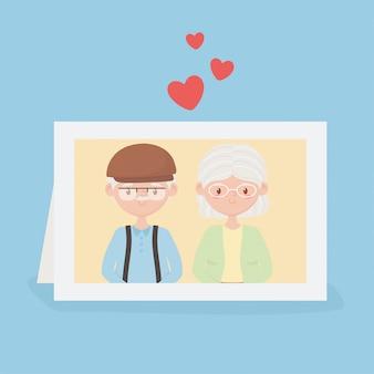 Personnes âgées, grands-parents couple mignon dans le cadre photo