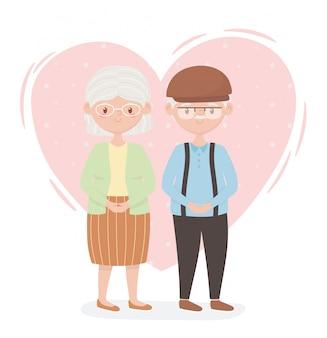 Personnes âgées, grands-parents de couple mignon, personnes âgées, membres de la famille personnages de dessins animés