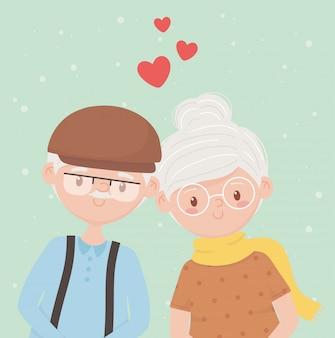 Les personnes âgées, les grands-parents heureux, les couples adultes aiment les personnages de dessins animés