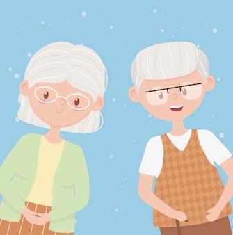 Personnes âgées, grands-parents heureux, personnages de dessins animés de couple senior