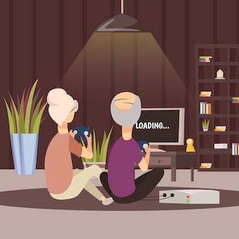Personnes âgées jouant à des jeux vidéo
