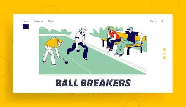 Personnes âgées jouant à la pétanque ou au bowling sur pelouse modèle de page d'atterrissage. se faire concurrence