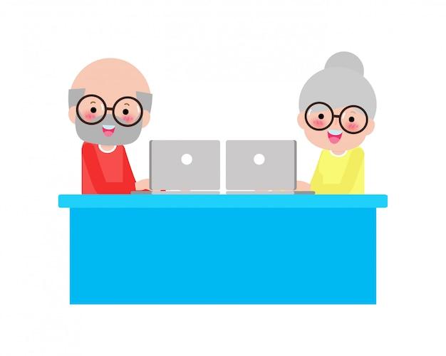 Les personnes âgées, les personnes âgées, les couples de personnes âgées avec un ordinateur portable et un tablet pc, restent à la maison, discutant sur ordinateur avec des petits-enfants apprenant des langues isolées sur fond blanc.