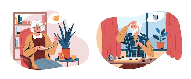 Personnes âgées plates avec problème de démence, maladie d'alzheimer
