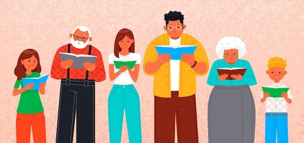 Des personnes d'âges différents lisent des livres.