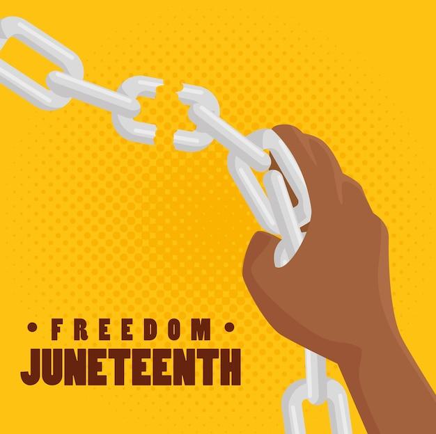 Personnes américaines afro briser une chaîne à la main