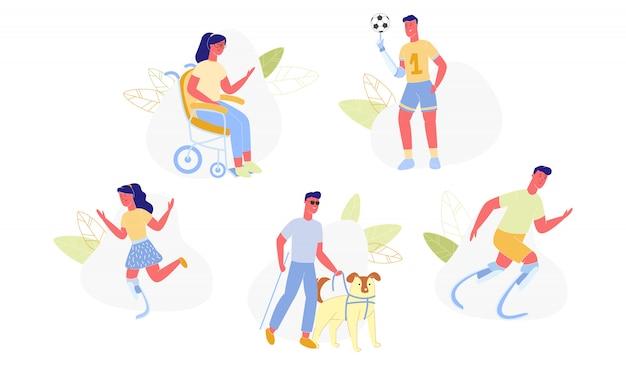 Personnes et animaux de compagnie handicapés faisant de l'activité physique.