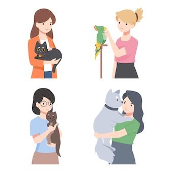 Personnes avec des animaux différents