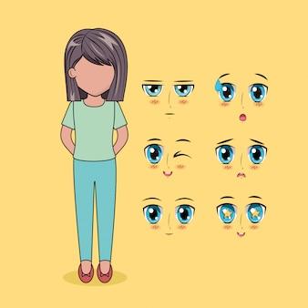 Personnes anime visage