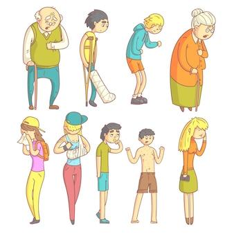 Personnes atteintes de maladies différentes