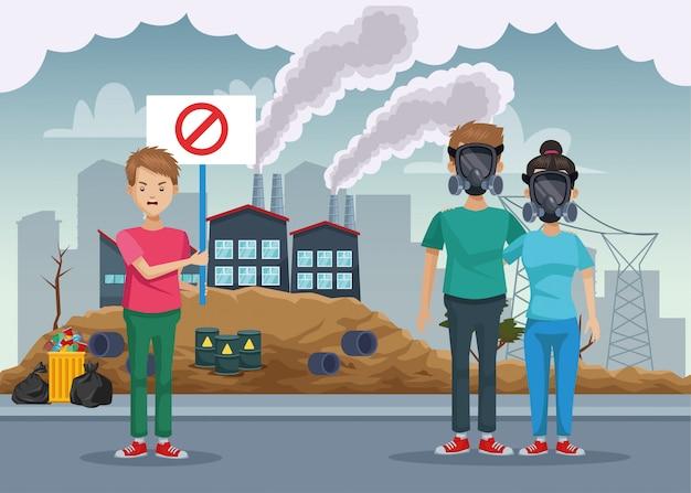 Personnes atteintes de pollution de protection de masque