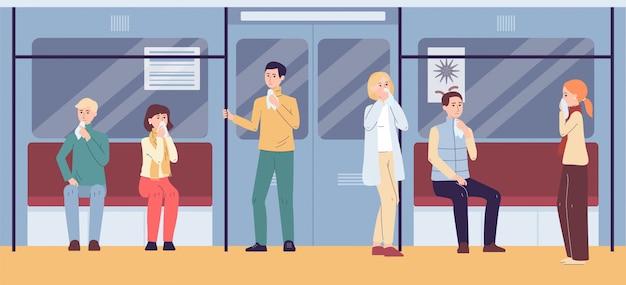 Personnes atteintes de symptômes du virus de la grippe dans le métro - dans les transports publics