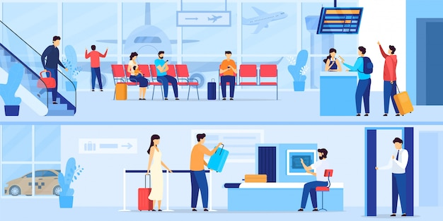 Personnes en attente à l'aéroport, contrôle de sécurité et enregistrement pour le vol, illustration