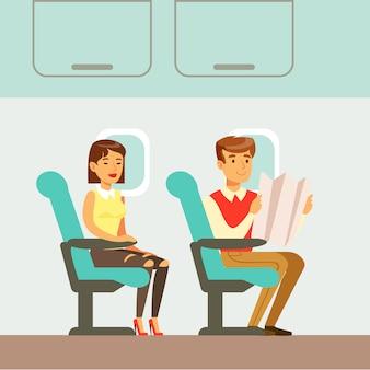 Personnes en attente de départ dans l'avion