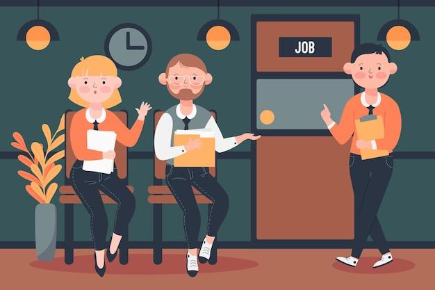 Personnes En Attente D'entrevue D'emploi Vecteur gratuit