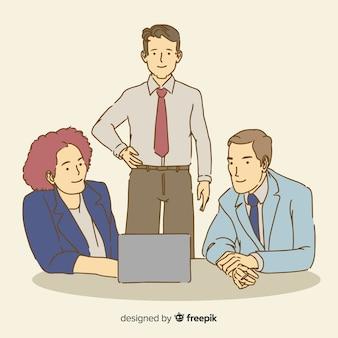 Personnes au bureau dans un style de dessin coréen