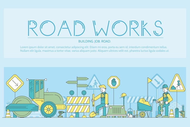Personnes au concept de contour de travaux routiers