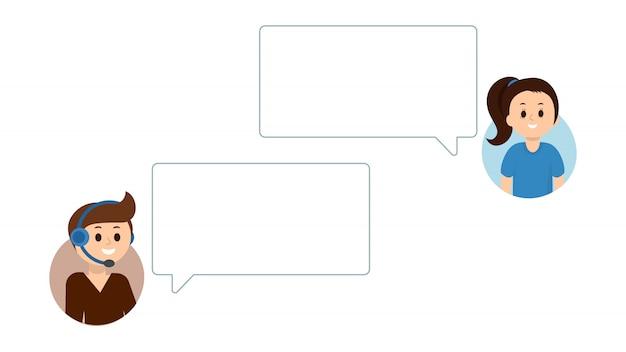 Personnes ayant un chat en ligne, service d'assistance. des bulles vides pour votre texte.