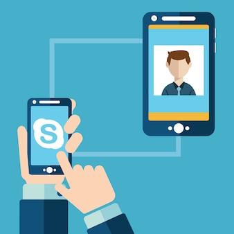 Personnes ayant une conversation vidéo via skype