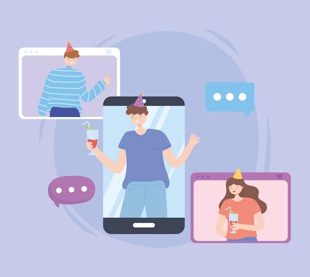 Personnes ayant une fête en ligne avec une illustration vectorielle d'ordinateur portable