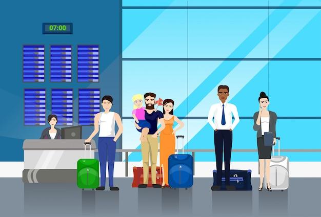 Personnes avec bagages debout en ligne au comptoir à l'aéroport pour l'enregistrement