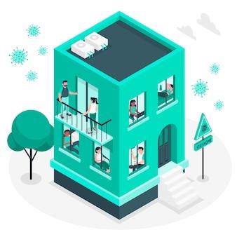 Personnes sur les balcons / fenêtres illustration concept