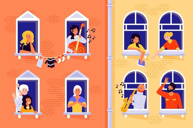 Personnes sur les balcons ou les fenêtres en quarantaine