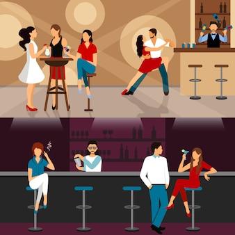 Personnes buvant au bar