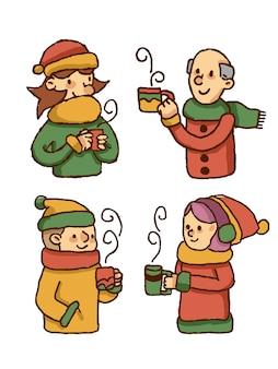 Personnes buvant des boissons chaudes