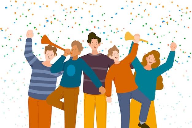 Personnes célébrant ensemble l'illustration
