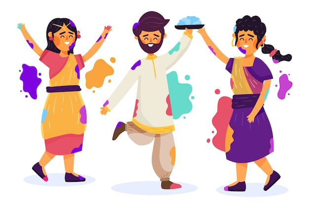 Personnes célébrant le festival de holi avec des taches