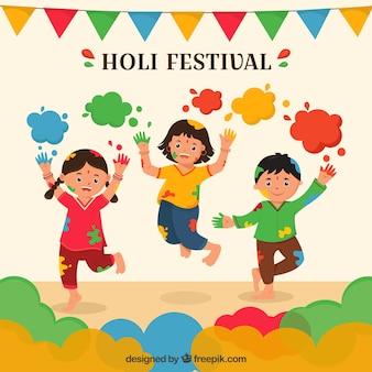 Personnes célébrant le fond du festival holi dans un style plat