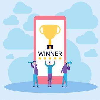 Personnes célébrant gagnant et illustration vectorielle de succès