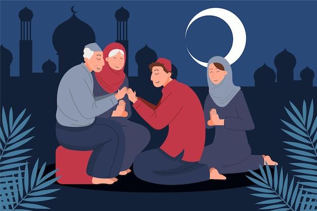Personnes célébrant l'illustration de l'aïd al-adha