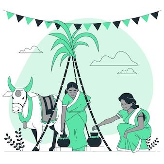 Personnes célébrant l'illustration de concept de festival de pongal