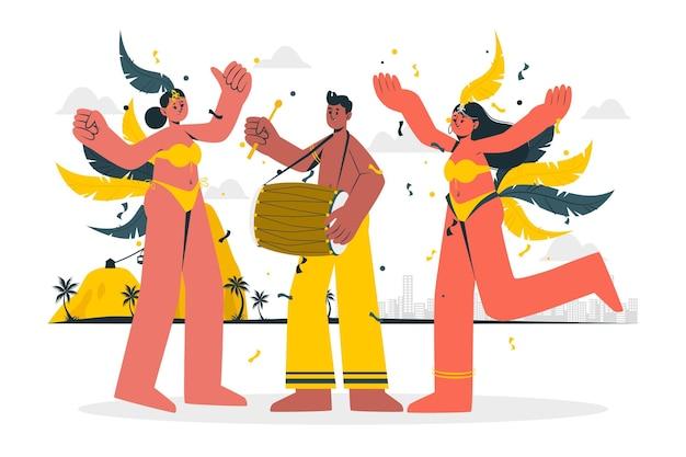 Personnes célébrant l'illustration du concept de carnaval brésilien
