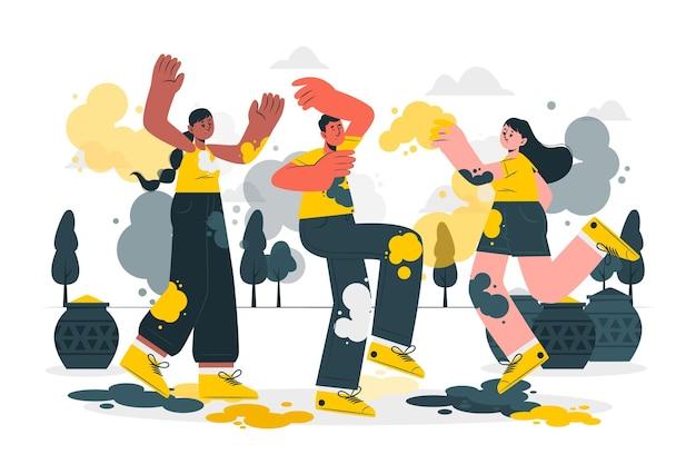 Personnes célébrant l'illustration du concept du festival holi