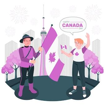 Personnes célébrant l'illustration du concept de la fête du canada