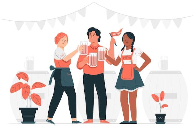 Personnes célébrant l'illustration du concept oktoberfest