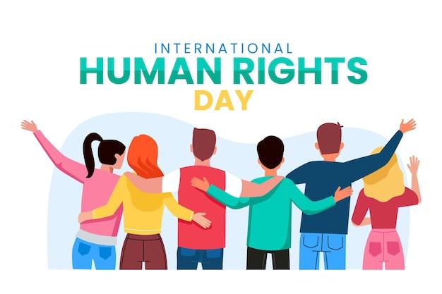 Personnes célébrant la journée internationale des droits de l'homme