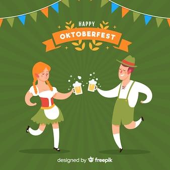 Personnes célébrant l'oktoberfest
