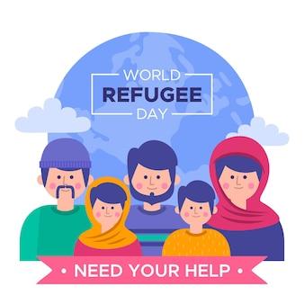 Personnes cherchant de l'aide pour la journée des réfugiés