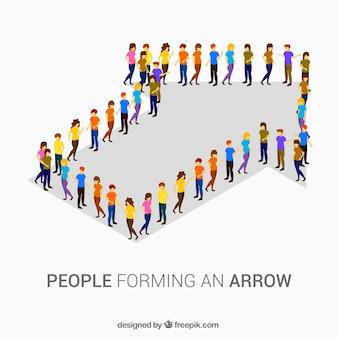 Personnes colorées formant une flèche
