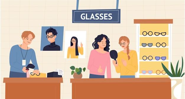 Personnes et commis choisissant des lunettes dans une boutique d'opticiens