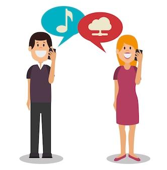 Personnes communiquant conception concept icône vector illustration