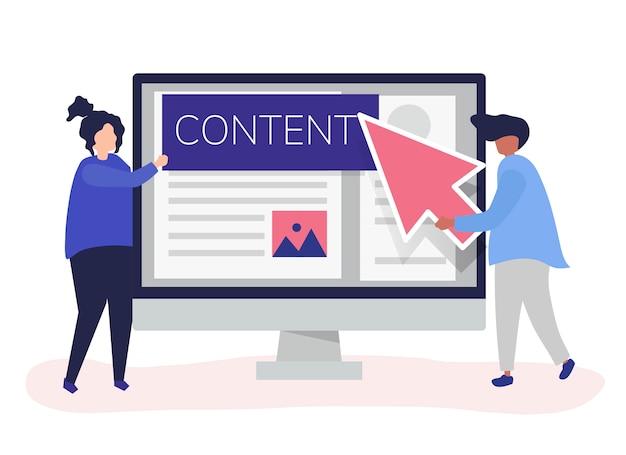 Personnes avec concept de création de contenu numérique