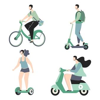 Personnes conduisant un ensemble de transport électrique