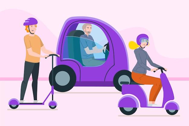 Personnes conduisant des transports électriques