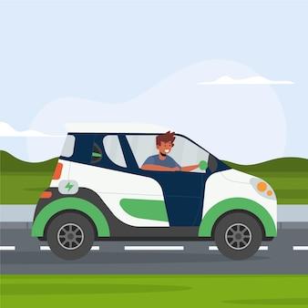 Personnes conduisant une voiture électrique